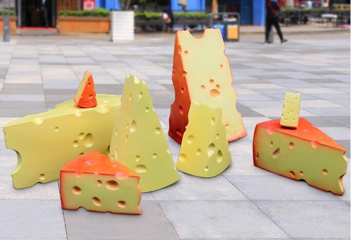 玻璃钢仿真奶酪雕塑,甜品店蛋糕店装饰摆件!