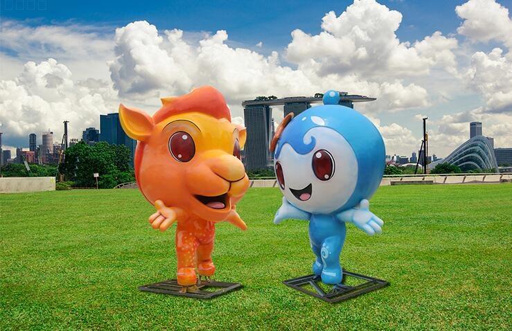 卡通可爱吉祥物玻璃钢雕塑摆件,街区景观装饰摆件首选!