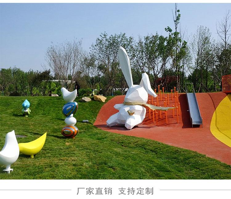 玻璃钢切面兔子雕塑云朵景观摆件