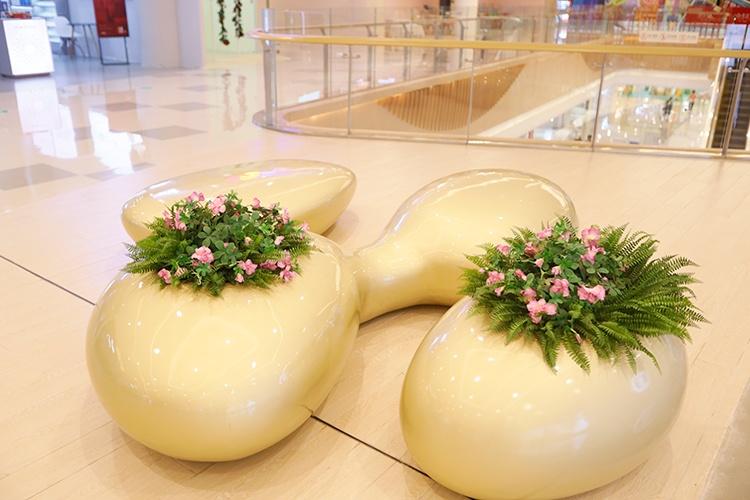 玻璃钢连体异形花盆组合