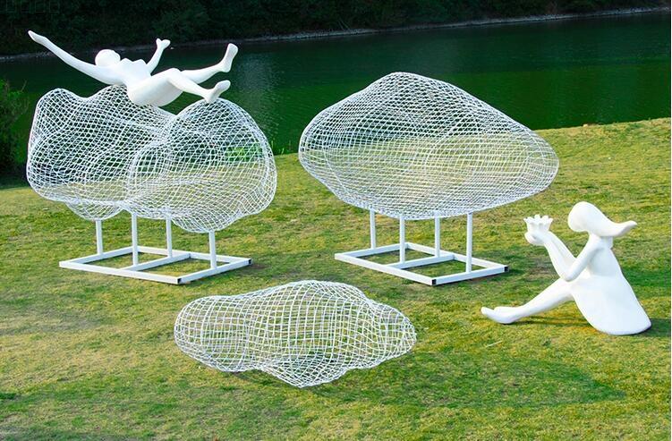 不锈钢镂空云朵雕塑摆件,校园景区广场都喜欢摆放