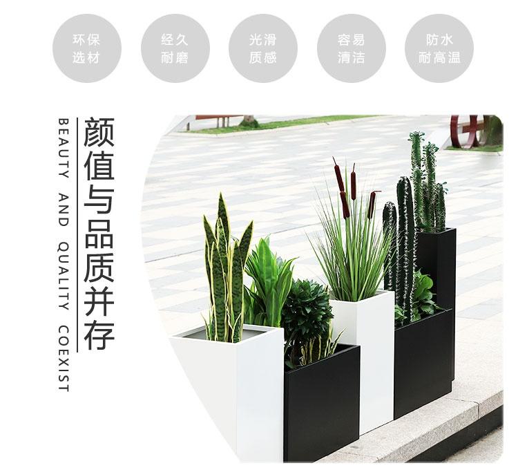 玻璃钢方形户外花箱街区园林绿化花盆
