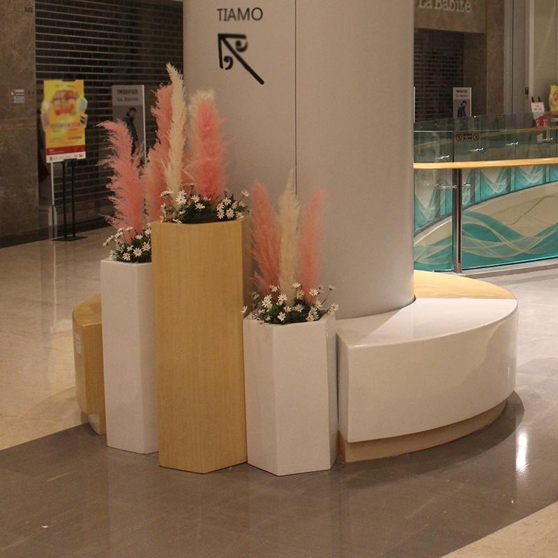 创意木纹环形坐凳,玻璃钢艺术木纹坐凳!